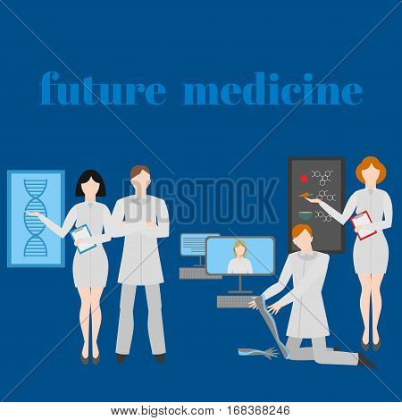 Future doctors and nurses and medical staff. Medical futuristic team in flat design people character. Molecular diet genes prostheses it medic and online doctor.
