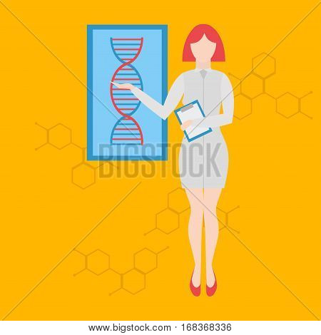 Future professions. Futuristic occupation genetic counselor.Future doctors and nurses and medical staff. Medical woman in flat design people character.