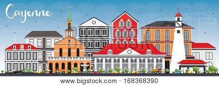 Cayenne Skyline with Color Buildings and Blue Sky. Vector Illustration. Business Travel and Tourism Concept with Modern Architecture. Image for Presentation Banner Placard and Web Site.
