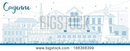 Outline Cayenne Skyline with Blue Buildings. Vector Illustration. Business Travel and Tourism Concept with Modern Architecture. Image for Presentation Banner Placard and Web Site.