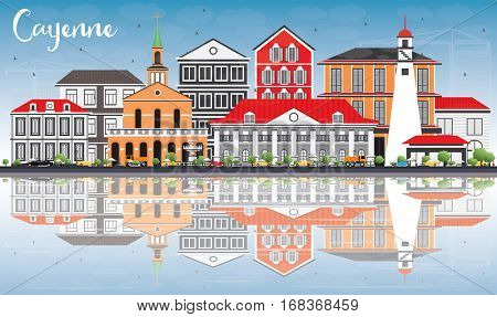 Cayenne Skyline with Color Buildings, Blue Sky and Reflections. Vector Illustration. Business Travel and Tourism Concept with Modern Architecture. Image for Presentation Banner Placard and Web Site.