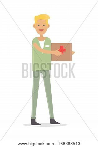 Male nurse medical technician isolated on white background. Experienced highly qualified doctor with medical kit. Medical profession worker in flat style design. Young practitioner consultant. Vector