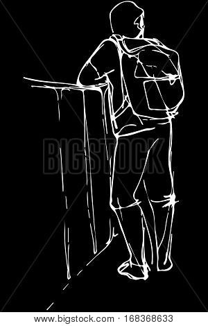 black and white vector sketch of a young man tourist with a backpack leaning on the parapet