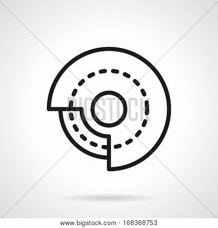 Abstract symbol of grinding stone for machine. Processing of metal products, polishing surfaces. Industrial equipment for workshops. Black simple line design vector icon.