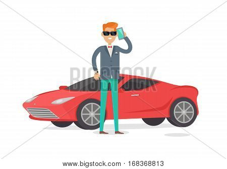 Rich man in expensive suit standing near red coupe car isolated on white. Handsome guy in stylish clothes near his cool car. Young male in glasses and luxury clock. Cute cartoon character. Vector