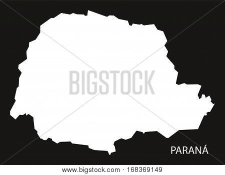 Parana Brazil Map black inverted silhouette illustration