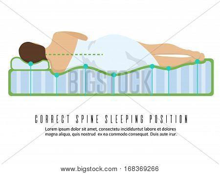 Ergonomic orthopedic mattress vector illustration. Correct spine sleeping position for health