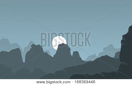 Landscape of cliff vector flat collection stock