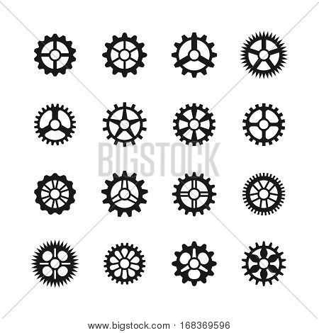 Gears icons. Vector clock gear set and transmission cogwheels isolated on white background. Collection of black silhouette cogwheel illustration