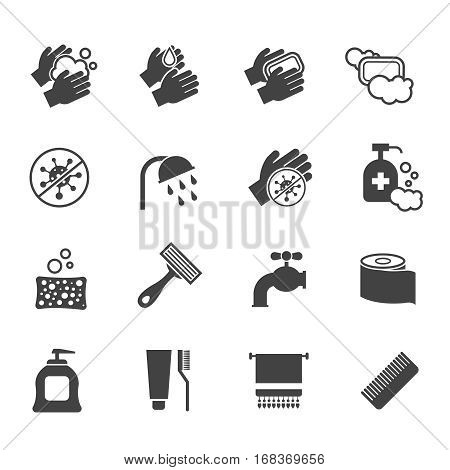 Hygiene icon set. Vector black icons of washing hands and anti bacterial soap, antiseptic use and sanitary. Wash hands with soap and water illustration