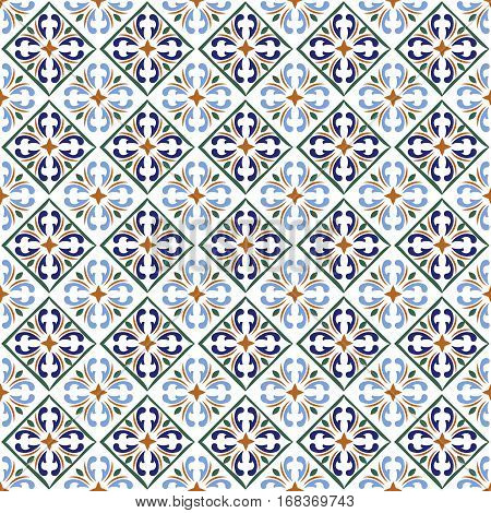 Moroccan blue tiles print or spanish ceramic surface vector pattern texture. Mosaic arabesque or portuguese design illustration
