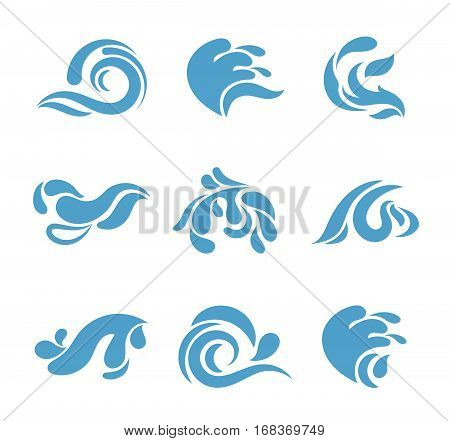 Abstract cartoon splash set. Vector blue water waves isolated on white background for logo or other business identity. Abstract aqua form for business logotype illustration