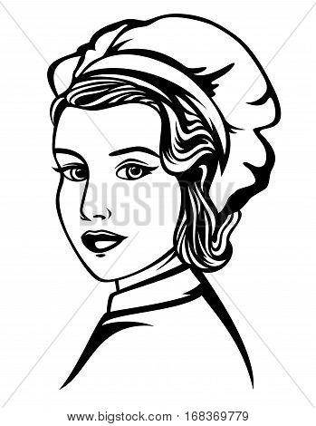 beautiful woman chef black and white vector portrait