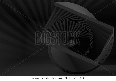 Abstract Black Helix Object In Dark