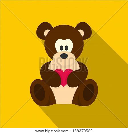 Teddy bear with pink heart icon. Flat illustration of teddy bear with pink heart vector icon for web   on yellow background