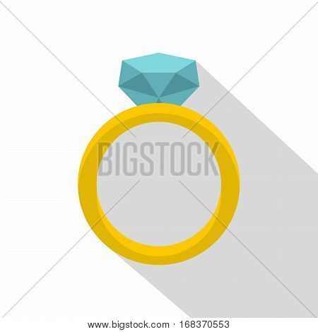 Gold ring with diamond icon. Flat illustration of gold ring with diamond vector icon for web   on white background
