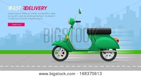 Fast Delivery. Green motorcycle on asphalt road. Contemporary fast two-wheeled mean of transportation driving quickly through city. A lot of high buildings in flat design on blue background. Vector
