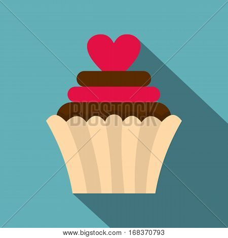 Valentine cupcake icon. Flat illustration of Valentine cupcake vector icon for web   on baby blue background