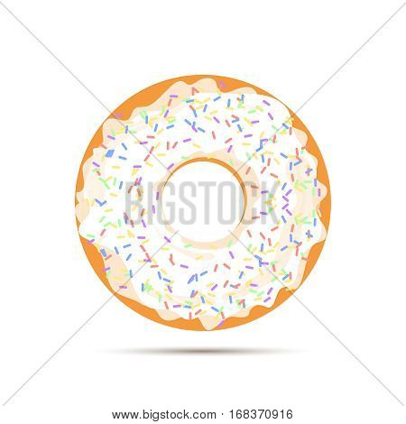 Sweet donut with white glaze isolated on white background. Yummy cookie donut food. Candy decoration snack with topping. Glazed pastry delicious snack, eat candy. Vector illustration.