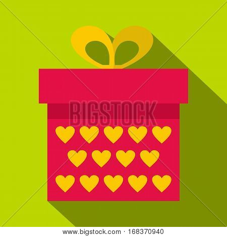 Pink gift box with yellow hearts icon. Flat illustration of pink gift box with yellow hearts vector icon for web   on lime background