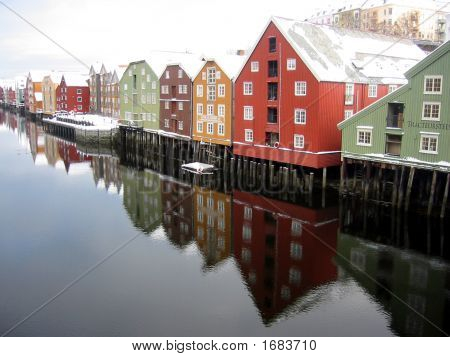 Beautiful Colourful Houses By The River, Trondheim, Norway