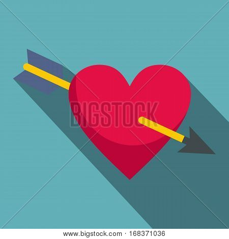 Heart pierced by Cupid arrow icon. Flat illustration of heart pierced by Cupid arrow vector icon for web   on baby blue background