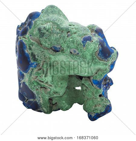 Blue Azurite gemstone isolated on white background