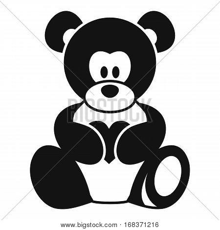Teddy bear holding a heart icon. Simple illustration of teddy bear holding a heart vector icon for web