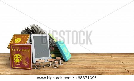 E-book Reader Books And Tablet On White Background 3D Render Success Knowlege Concept