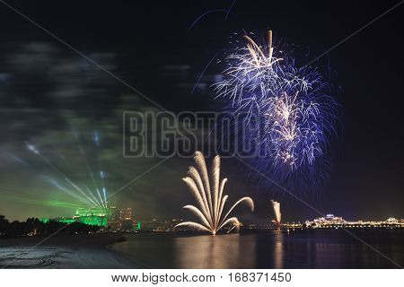The 45th UAE National Day celebration fireworks in Abu Dhabi. United Arab Emirates Middle East