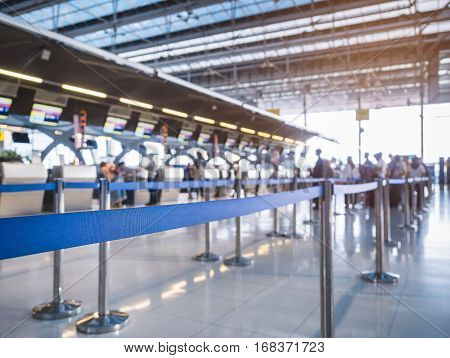 Waiting Lane Check in Counter with Blur People queue Airport Travel Transportation