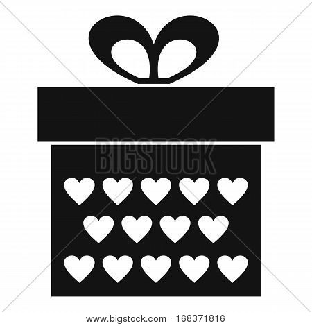 Gift box with ribbon bow icon. Simple illustration of gift box with ribbon bow vector icon for web