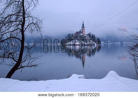End of day at the lake Bled in winter Slovenia Europe