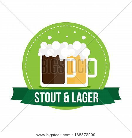 Flat design banner, badge, label with couple glasses of beer, stout and lager.