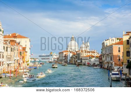 VENICE, ITALY - September 20, 2016.Traditional street view of old buildings in Venice. its entirety is listed as a World Heritage Site, along with its lagoon.September 20,2016  VENICE, ITALY