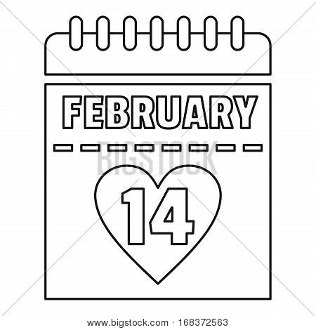 February 14 calendar icon. Outline illustration of february 14 calendar vector icon for web