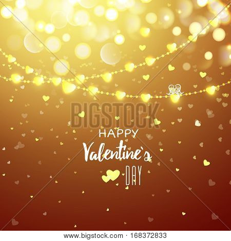 Happy Valentines day cad. Light heart garland. Decorative bokeh background with lot of little hearts. Vector illustration