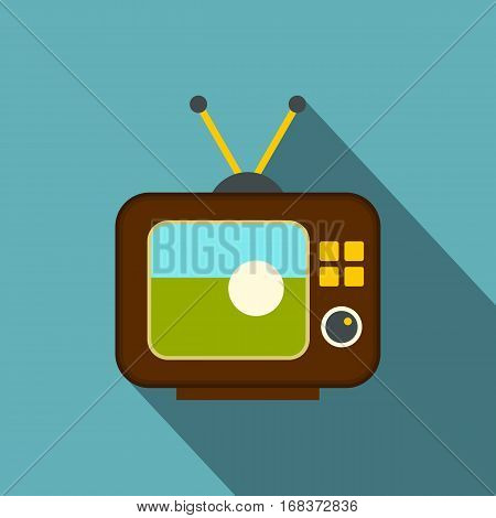 Ball on the screen of retro TV icon. Flat illustration of ball on the screen of retro TV vector icon for web   on baby blue background