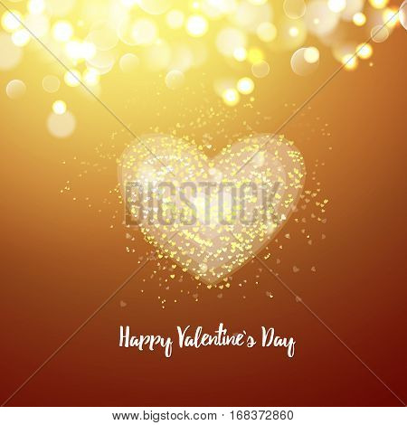 Happy Valentines day cad. Big heart. Decorative light background with lot of little hearts. Vector illustration
