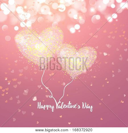 Happy Valentines day cad. Two air heart. Decorative light background with lot of little hearts. Vector illustration