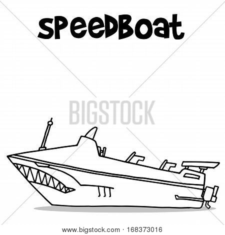 Transport of speedboat hand draw vector illustration