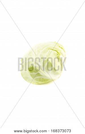 Raw Green Fresh Cabbage, Isolated