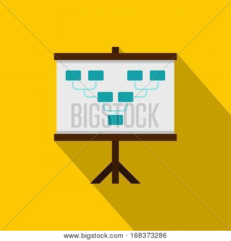 Board with team formation icon. Flat illustration of board with team formation vector icon for web   on yellow background