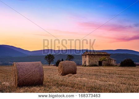 Sunset Over Farm Field