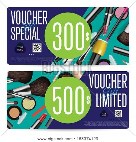 Cosmetics gift voucher template. Gift coupon with fashion makeup accessories and prepaid sum. Makeup brush, powder, lipstick, pencil, polish vectors. Special exclusive offer for cosmetics product sale. Cosmetics concept design.