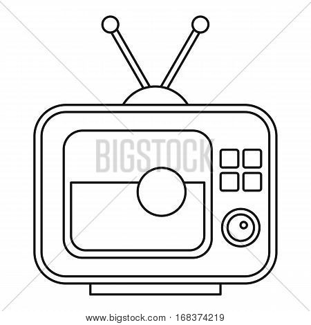 Ball on the screen of retro TV icon. Outline illustration of soccer ball on the screen of retro TV vector icon for web