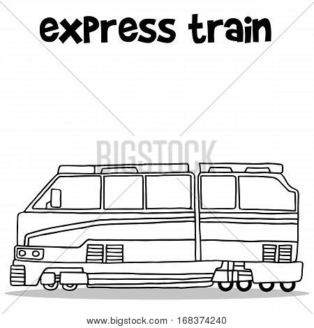 Hand draw of express train transport vector