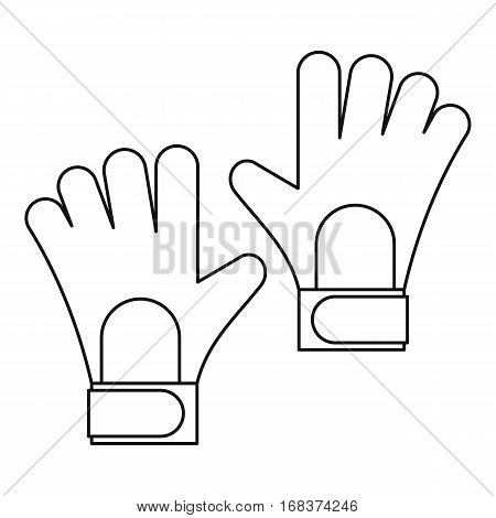 Soccer goalkeeper gloves icon. Outline illustration of soccer goalkeeper gloves vector icon for web