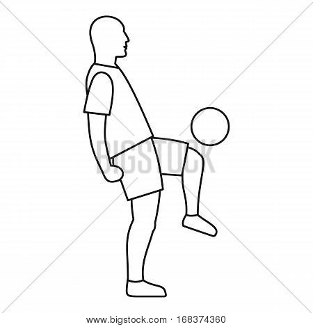 Soccer player kicking the ball icon. Outline illustration of soccer player kicking the ball vector icon for web