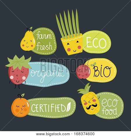 Eco and bio food labels set isolated on black background. Natural products stickers with pear, apple pineapple, orange, strawberry characters. Healthy eating concept. Eco friendly products. Organic food logo. Farm food icon.